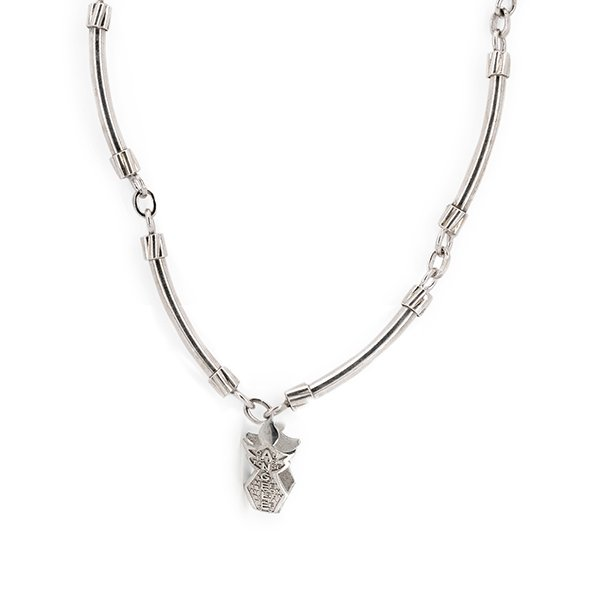 Men's necklace with silver angel pendant