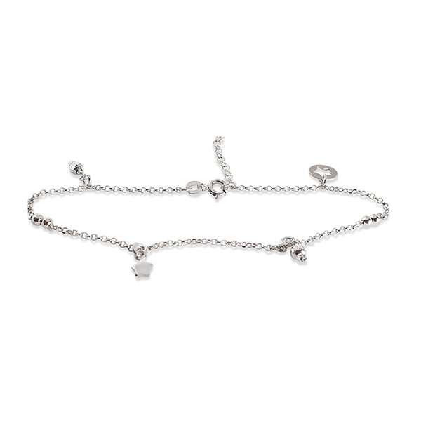 Silver anklet with charms