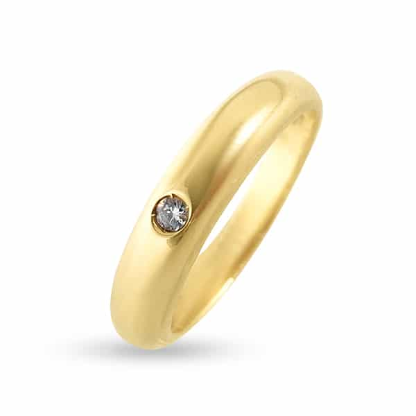 750 gold narrow band wedding ring with diamond size 15
