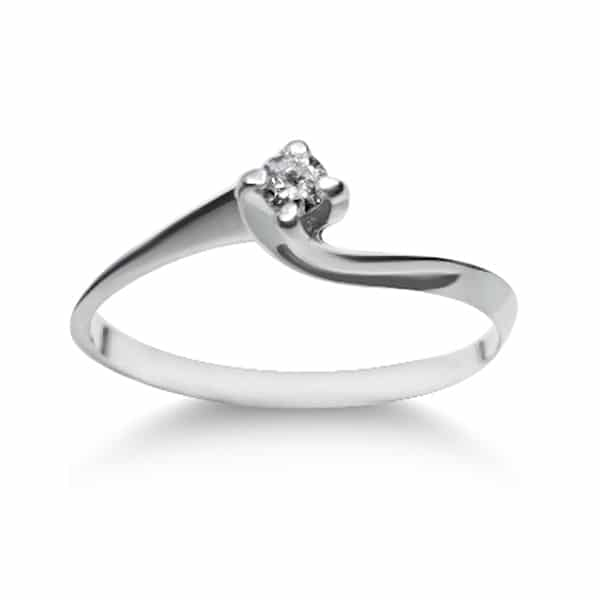 Valentino solitaire classic ring in 18kt 750 white gold and 0.03ct diamond