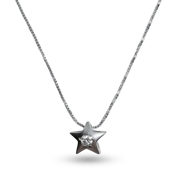 18kt 750 white gold necklace with 0.03ct diamond;